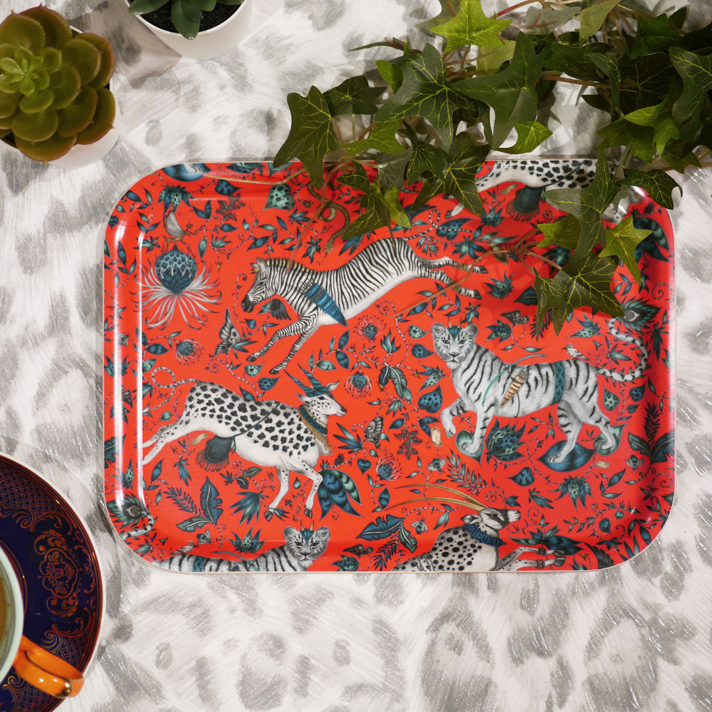 Emma J Shipley small protea tray in red, featuring zebra lion and eland