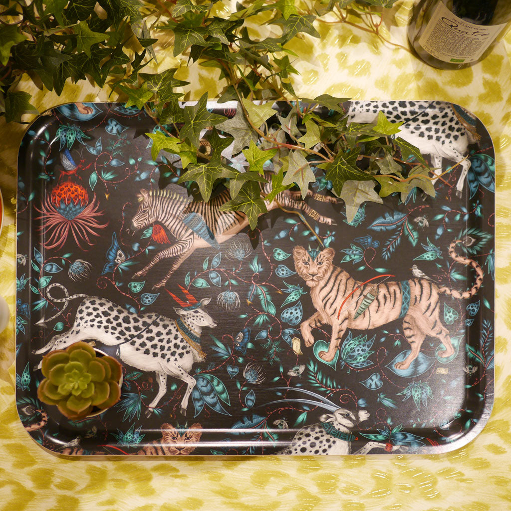 Emma J Shipley Protea large tray in navy