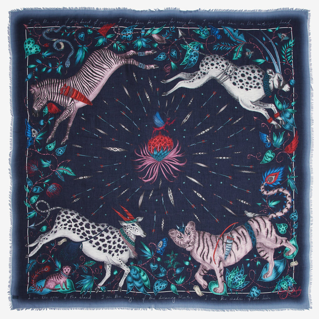 The Protea Modal Blend Scarf, designed by Emma J Shipley for the wilderness  collection, will inject a touch of African exoticism to your wardrobe