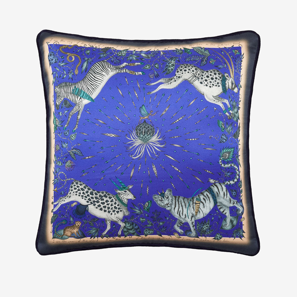 The Bright Blue Protea Silk cushion designed by Emma J Shipley features leaping zebras, tigers and proteas. Perfect to brighten up any home interior, bedroom or living space