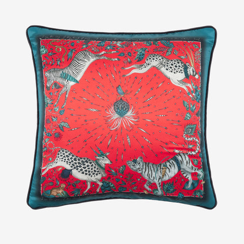 The Bright Red Protea Silk cushion designed by Emma J Shipley features leaping zebras, tigers and proteas. Perfect to brighten up any home interior, bedroom or living space