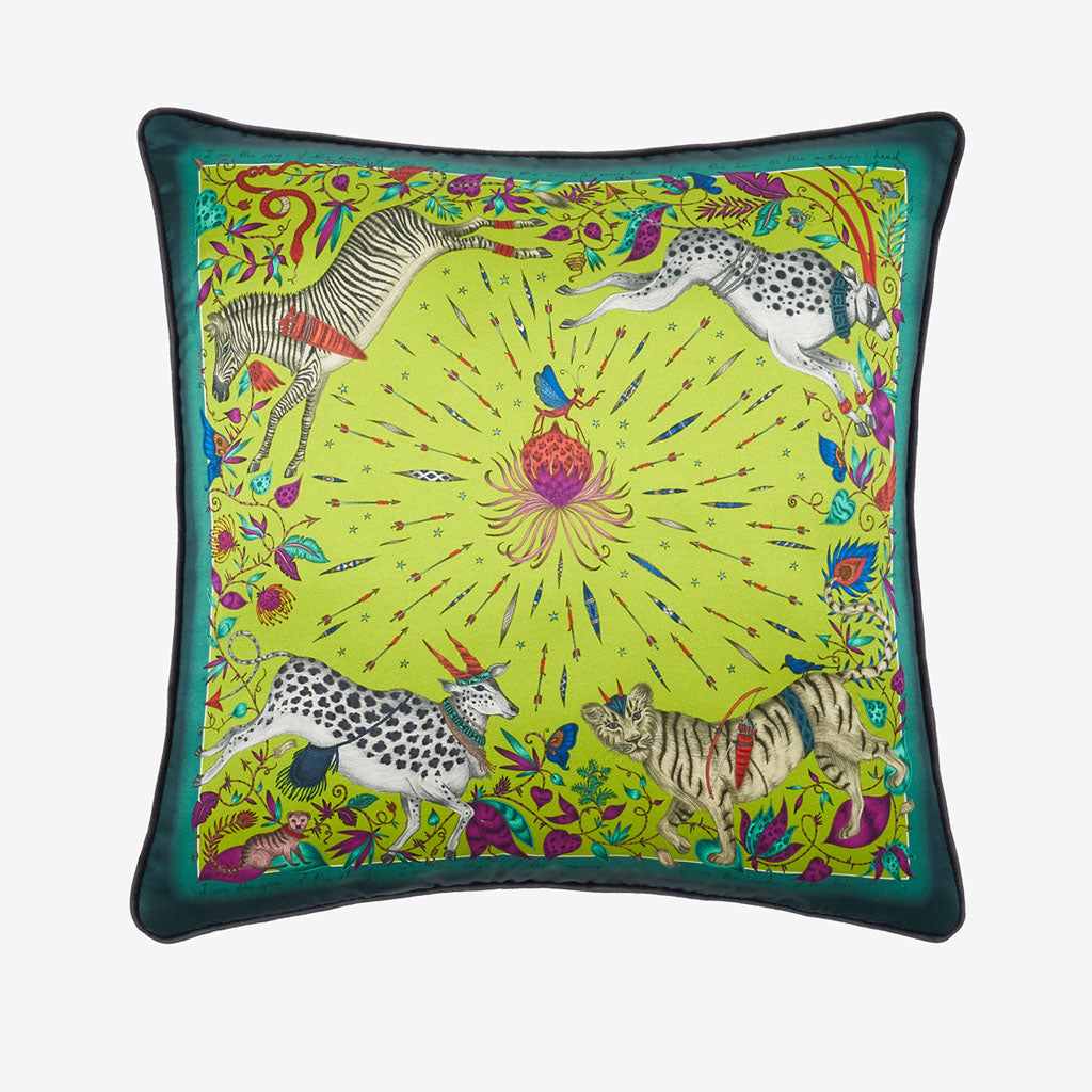 The Lime green Protea Silk cushion designed by Emma J Shipley features leaping zebras, tigers and proteas. Perfect to brighten up any home interior, bedroom or living space