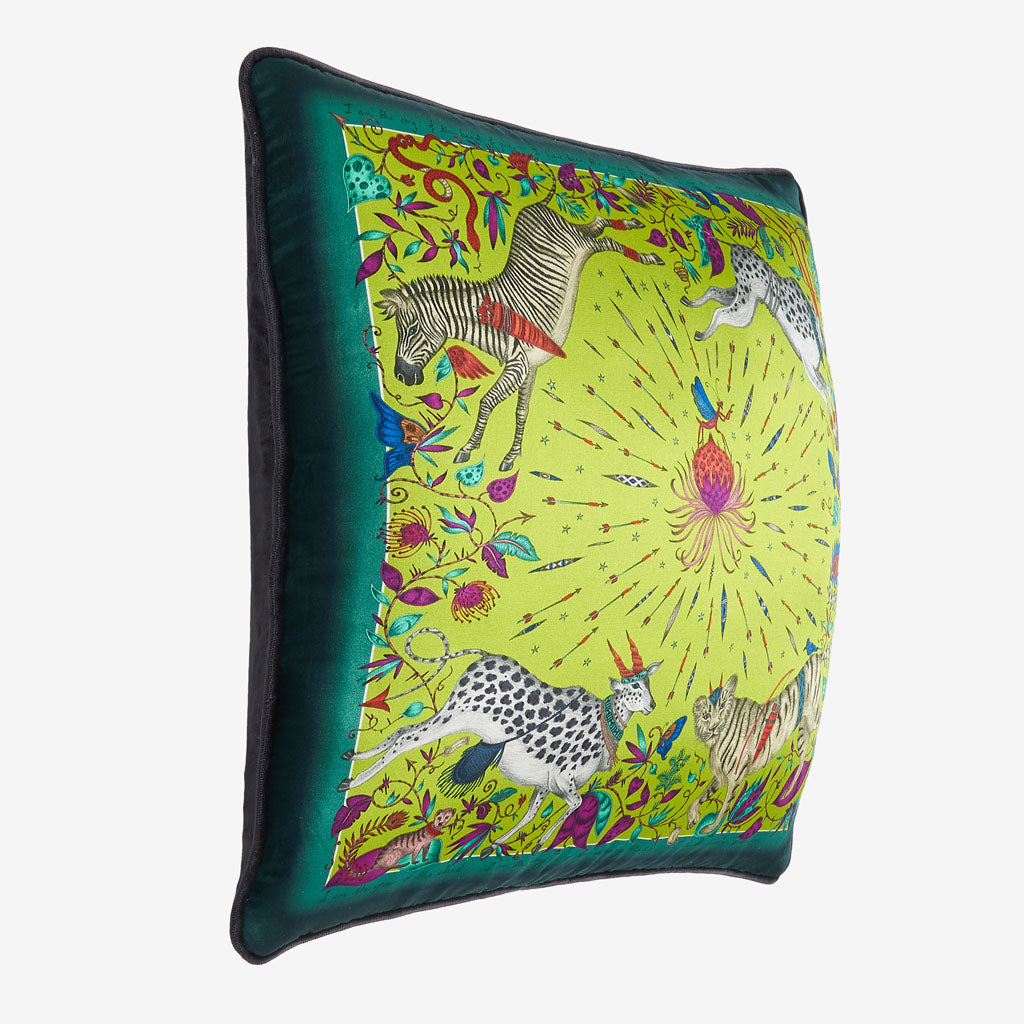 A side view of the lime green protea silk cushion by Emma J Shipley. It's the perfect cushion to brighten up a sofa, chair, bedspread or window seat