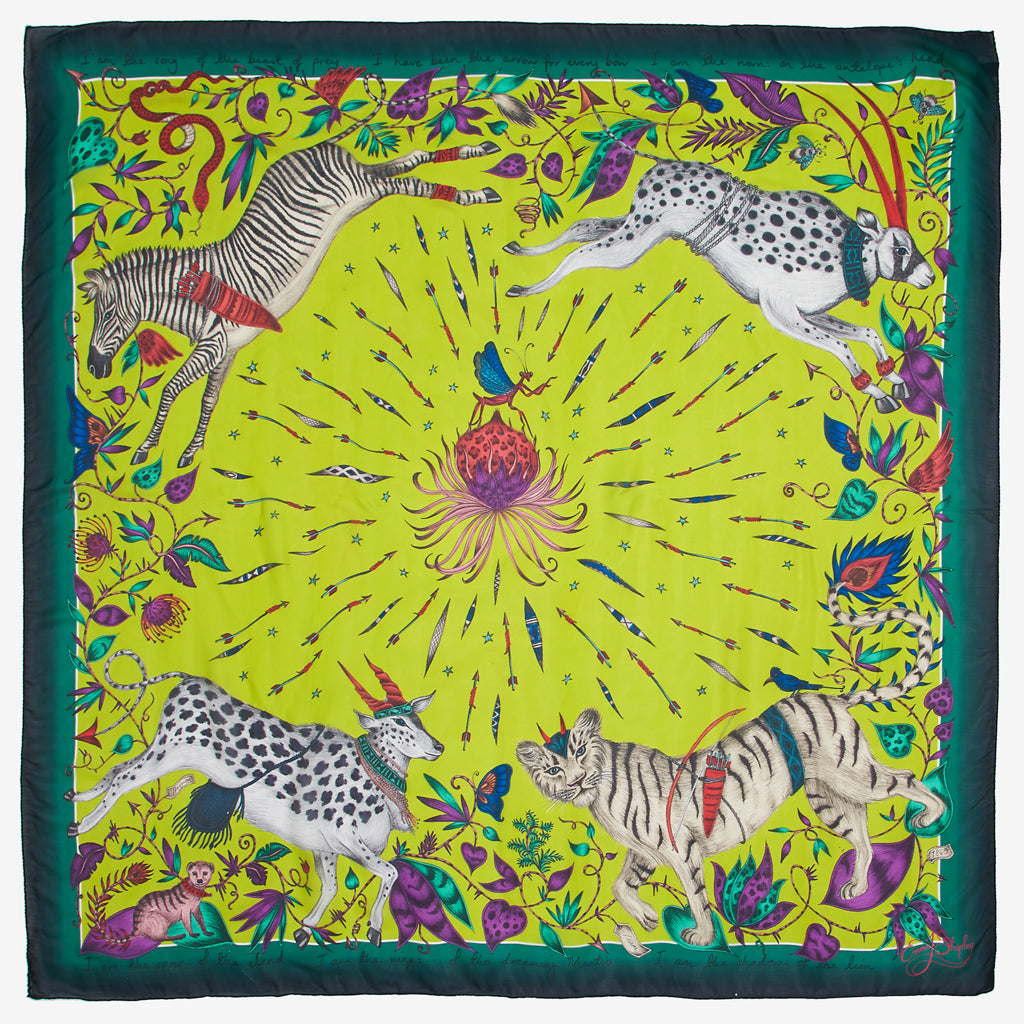 This bright acid line Protea silk chiffon scarf is designed by Emma J shipley to make a bold statement.