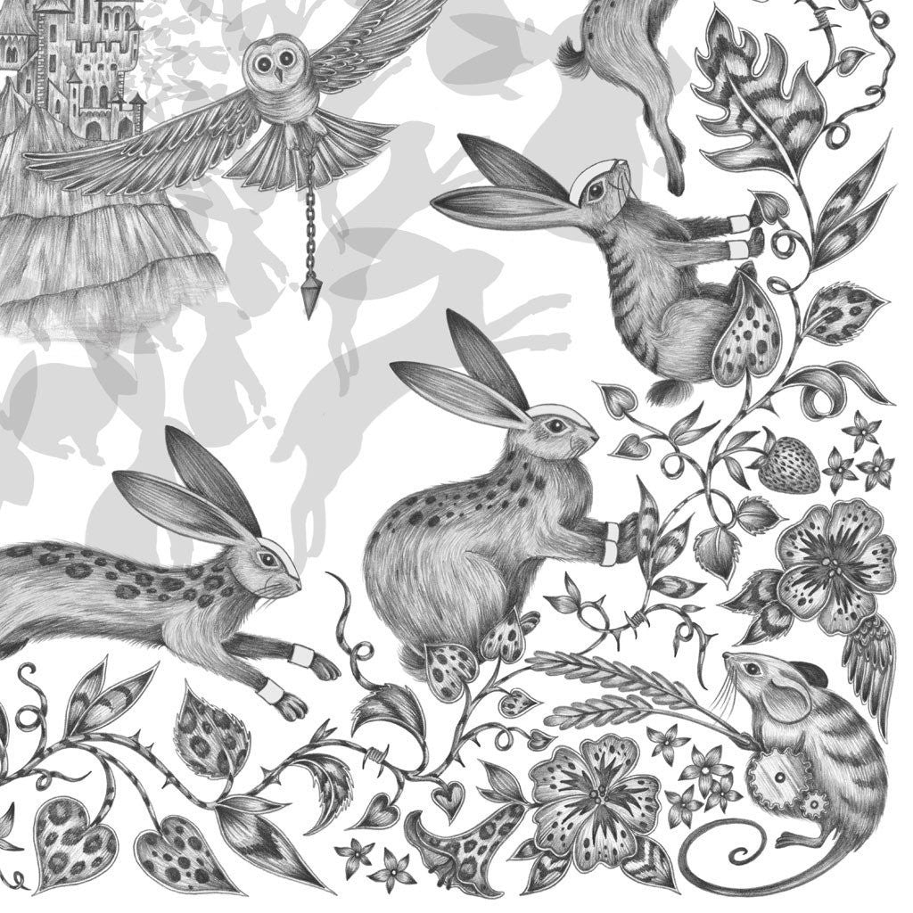 The hand-drawn illustration of the Frith design inspired by Watership Down, by luxury designer and illustrator Emma J Shipley