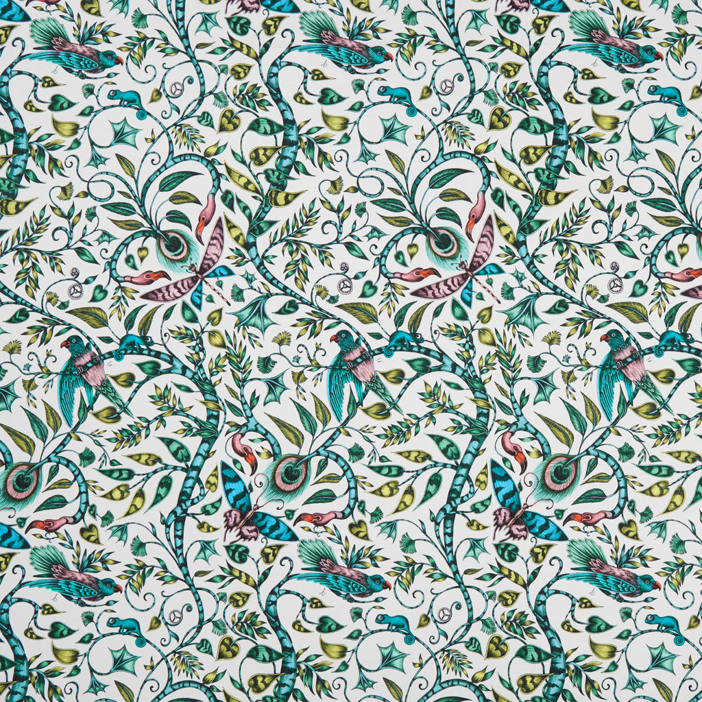 The striking Rousseau cotton satin fabric designed by Emma J Shipley x Clarke & Clarke