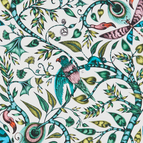 The beautifully intricate Rousseau cotton satin fabric designed by Emma J Shipley x Clarke & Clarke