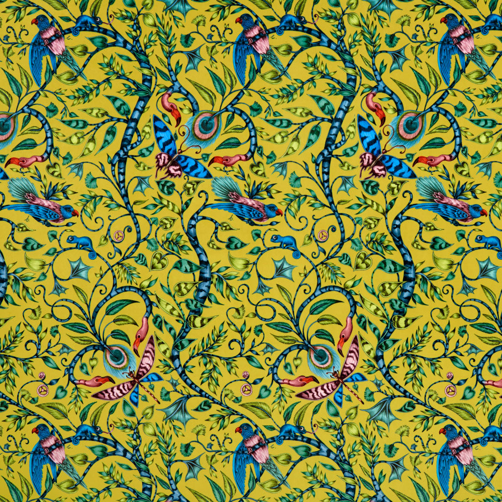 The fantastical Rousseau velvet lime fabric designed by Emma J Shipley x Clarke & Clarke