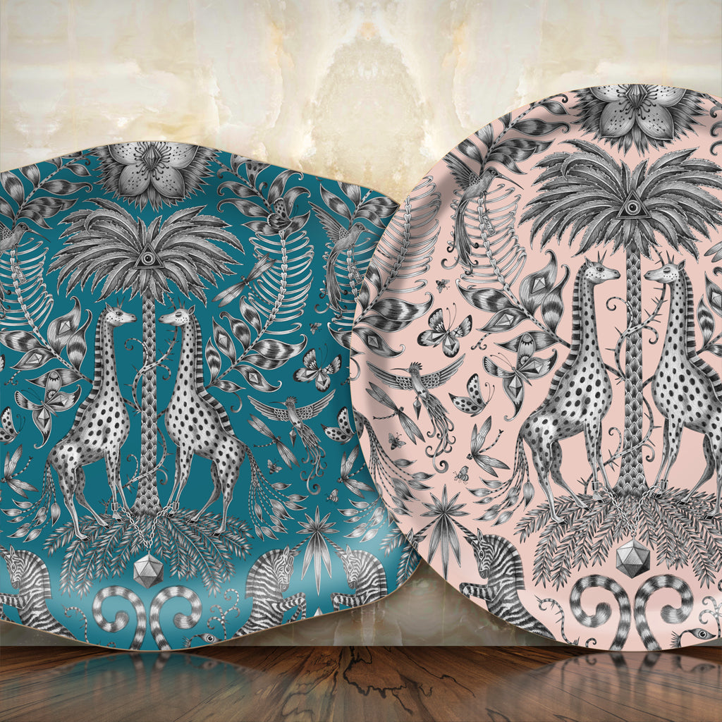 The Kruger Tray features an elegant hand-drawn design of giraffes, zebras, birds and tropical plants by Emma J Shipley