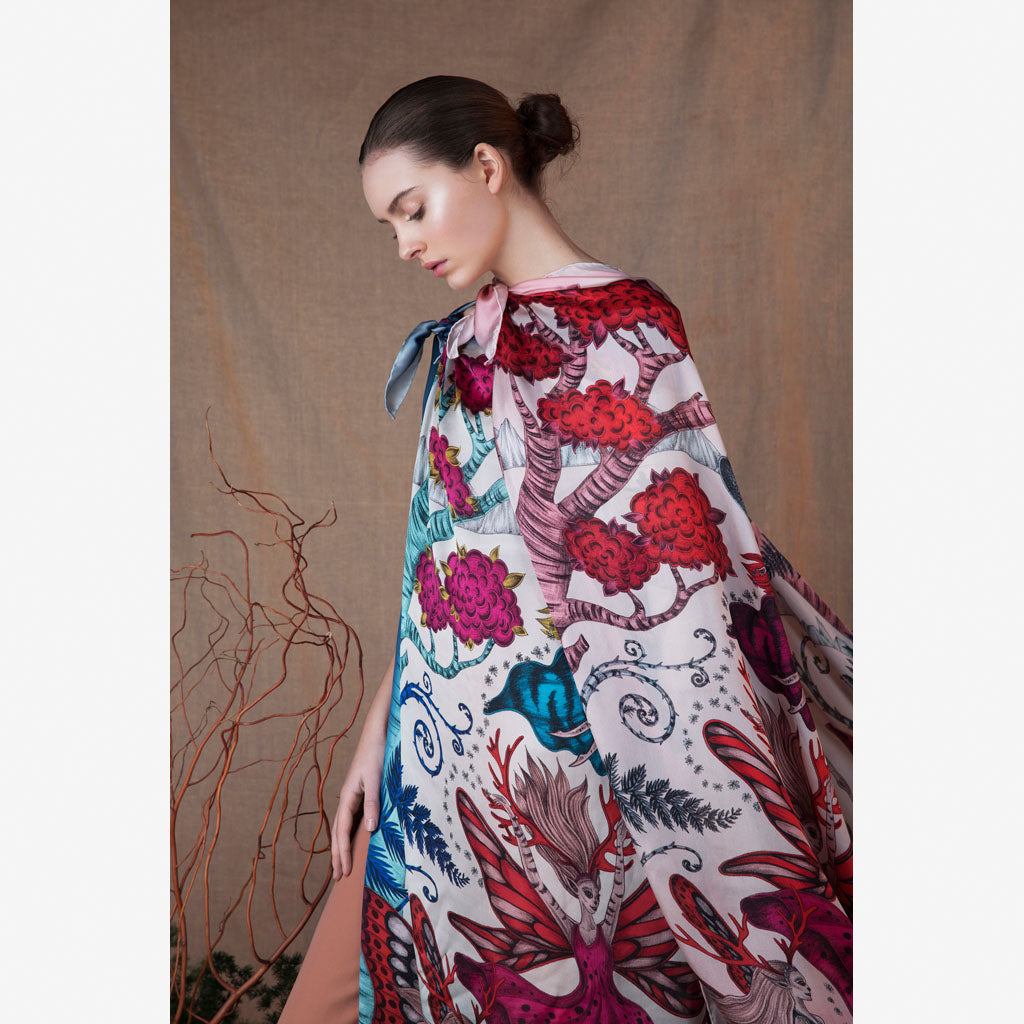 The Elven Silk Chiffon Scarf hand drawn by designer Emma J Shipley, as seen in our Fables Collection campaign imagery