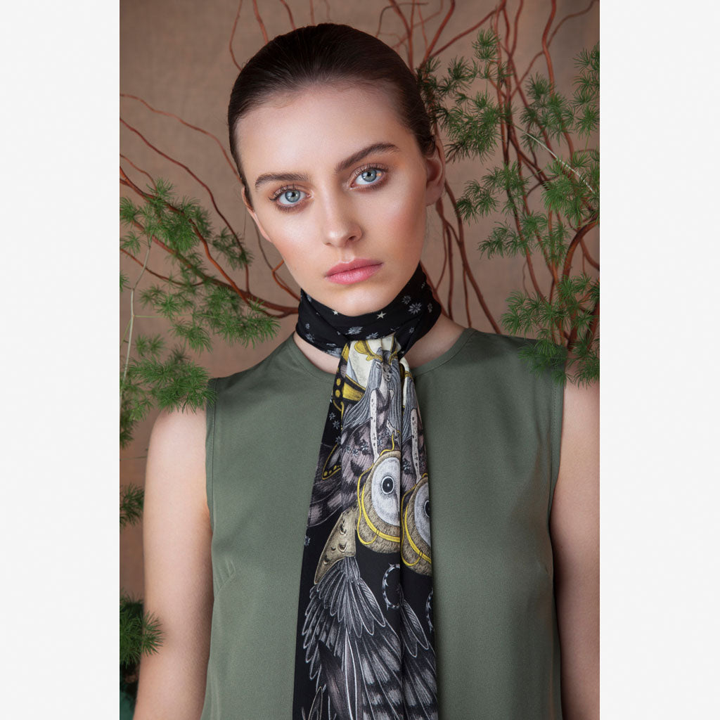 Beautiful campaign imagery of the Elven Silk Skinny Scarf