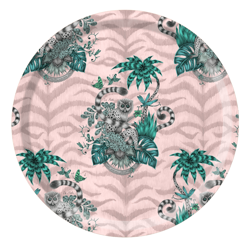 The Lemur Round Tray in Pink is the perfect tableware piece for outdoor entertaining this summer, be inspired by Emma J Shipley's design and pieces