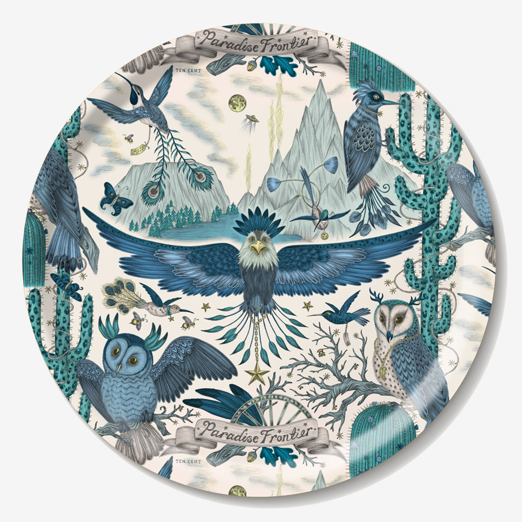 The fantastical circular Frontier tray created by luxury designer and illustrator Emma J Shipley