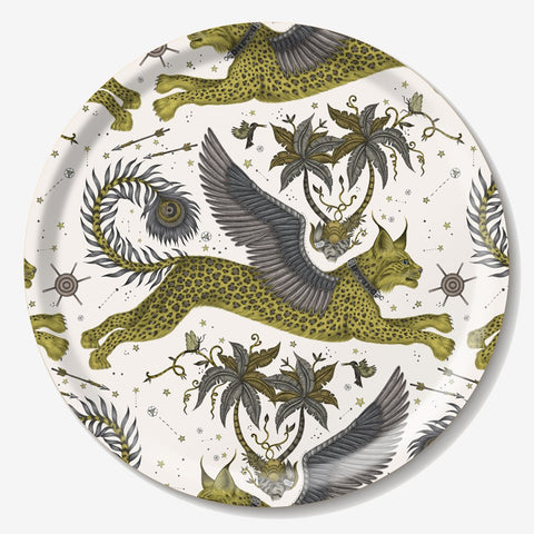 The fantastical circular Lynx tray created by luxury designer and illustrator Emma J Shipley