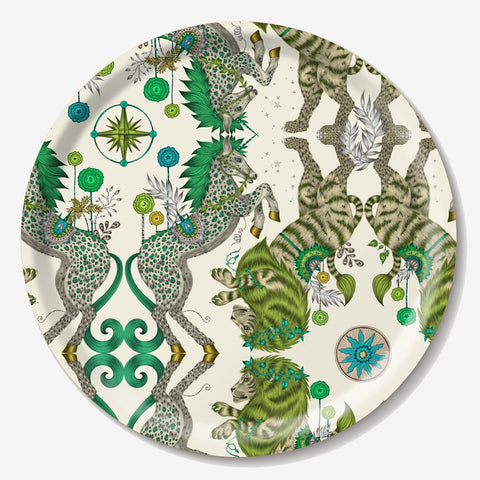 The fantastical circular Caspian tray created by luxury designer and illustrator Emma J Shipley