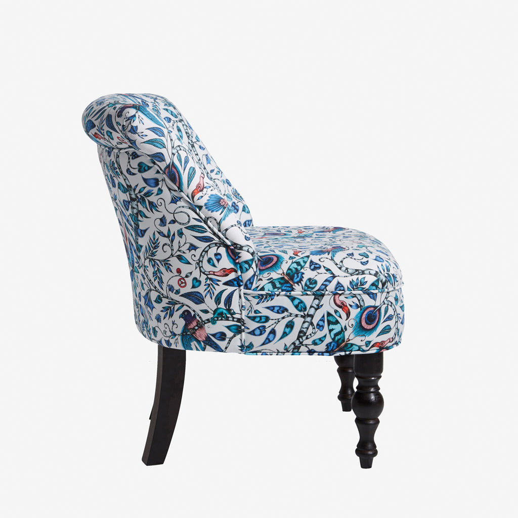 The Animalia collection fabric designs appear on Emma J Shipley for Clarke & Clarke's new furniture range - here is the Rousseau Langley Chair