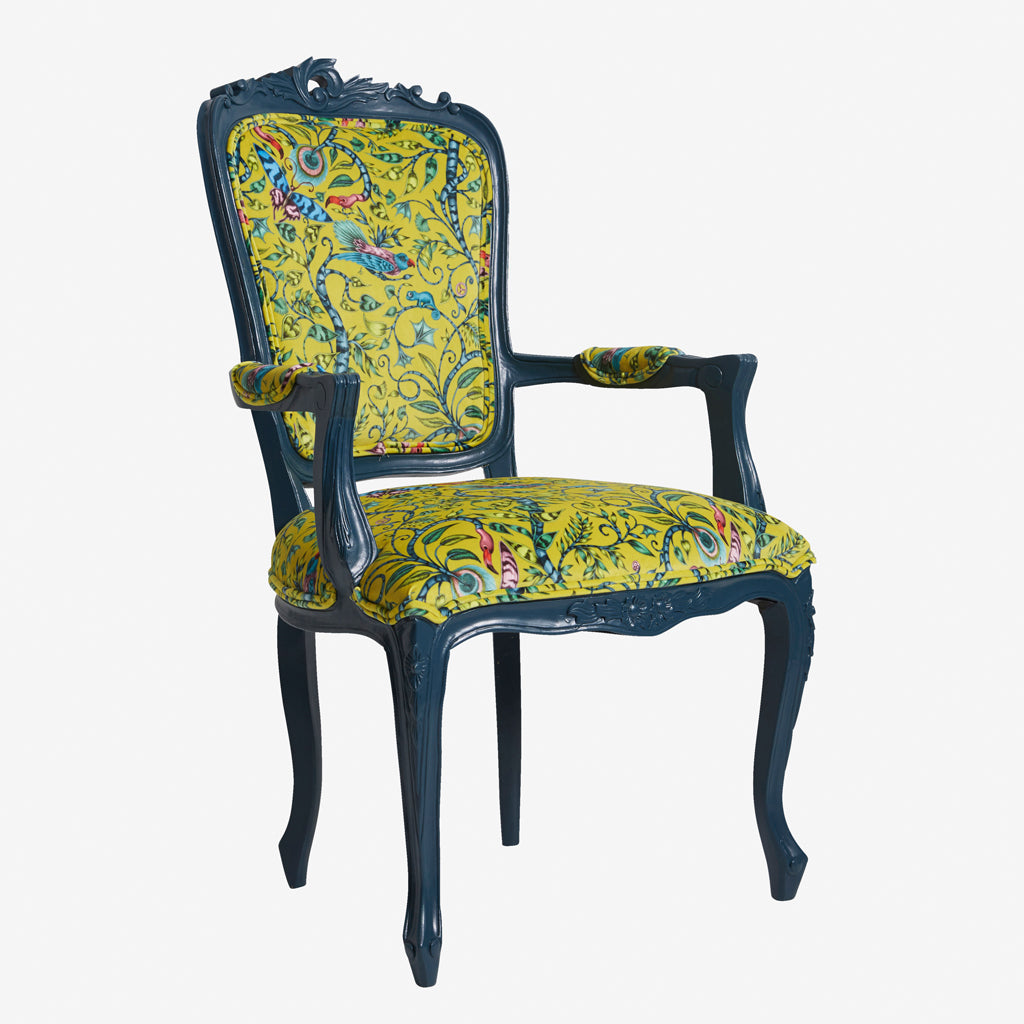 Emma J Shipley for Clarke & Clarke furniture; the Rousseau Antoinette Chair is upholstered with stunning, statement lime velvet. Printed fabric chair, with striking jungle design