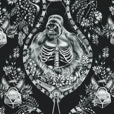 The Emma J Shipley Silverback Print design on Cotton Satin Made wit Clarke & Clarke