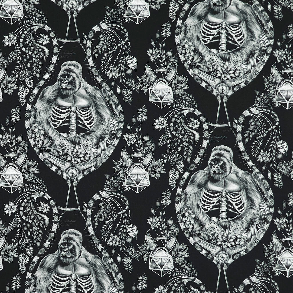 Full Shot of the Black Silverback Cotton Satin fabric, Part of the Wilderie Collection with Clarke & Clarke designed by Emma J Shipley. The monochrome theme of this print really makes this fabric stand out and work perfectly in a maximalist home interior scheme, it's perfect for drapery, upholstery and soft home furnishing projects