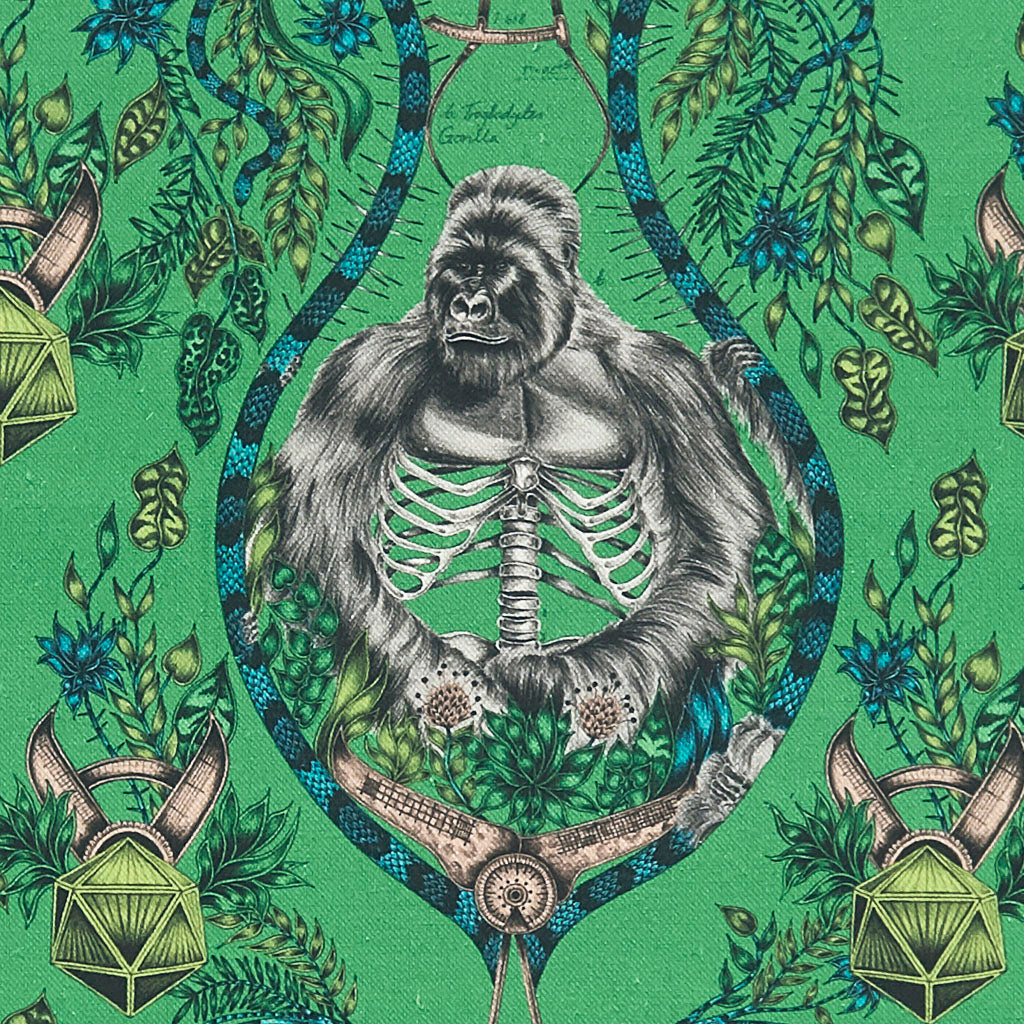 A closer look at the wild Silverback Linen in Lime, Hand drawn by Emma J Shipley and produced with Clarke & Clarke. Featuring a Silverback gorilla and vines, this colour really makes this design an intriguing background for any neutral colour scheme that will work in a lot of Home interiors