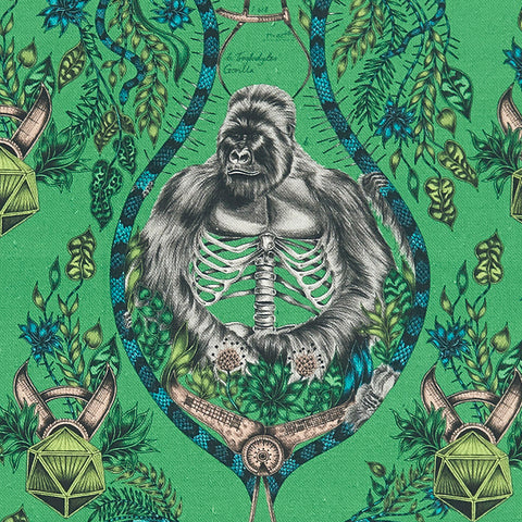 A closer look at the wild Silverback Linen in Lime, Hand drawn by Emma J Shipley and produced with Clarke & Clarke. Featuring a Silverback and vines