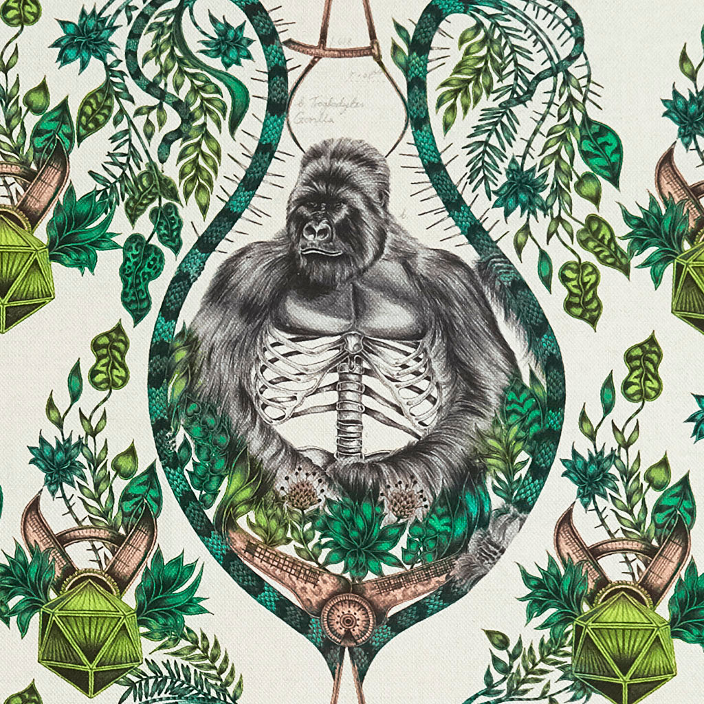 The Stunning Silverback Linen in Nude Fabric from Emma J Shipley's Wilderie Collection made in collaboration with Clarke and Clarke, injecting exotic animals and bold colour into you home interior featuring a silverback Gorilla and vines.
