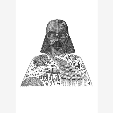 Darth Vader Star Wars print of pencil drawing