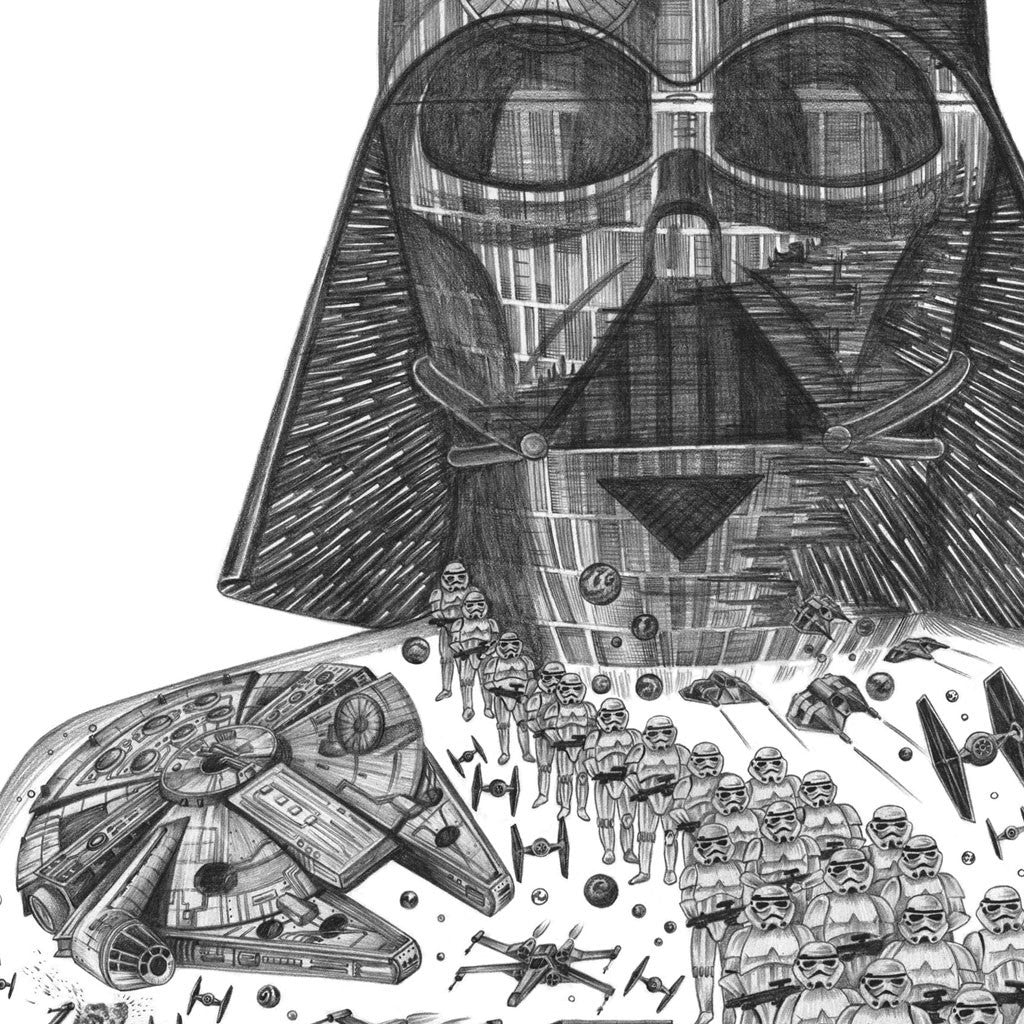 Detail of Darth Vader Star Wars print from pencil drawing
