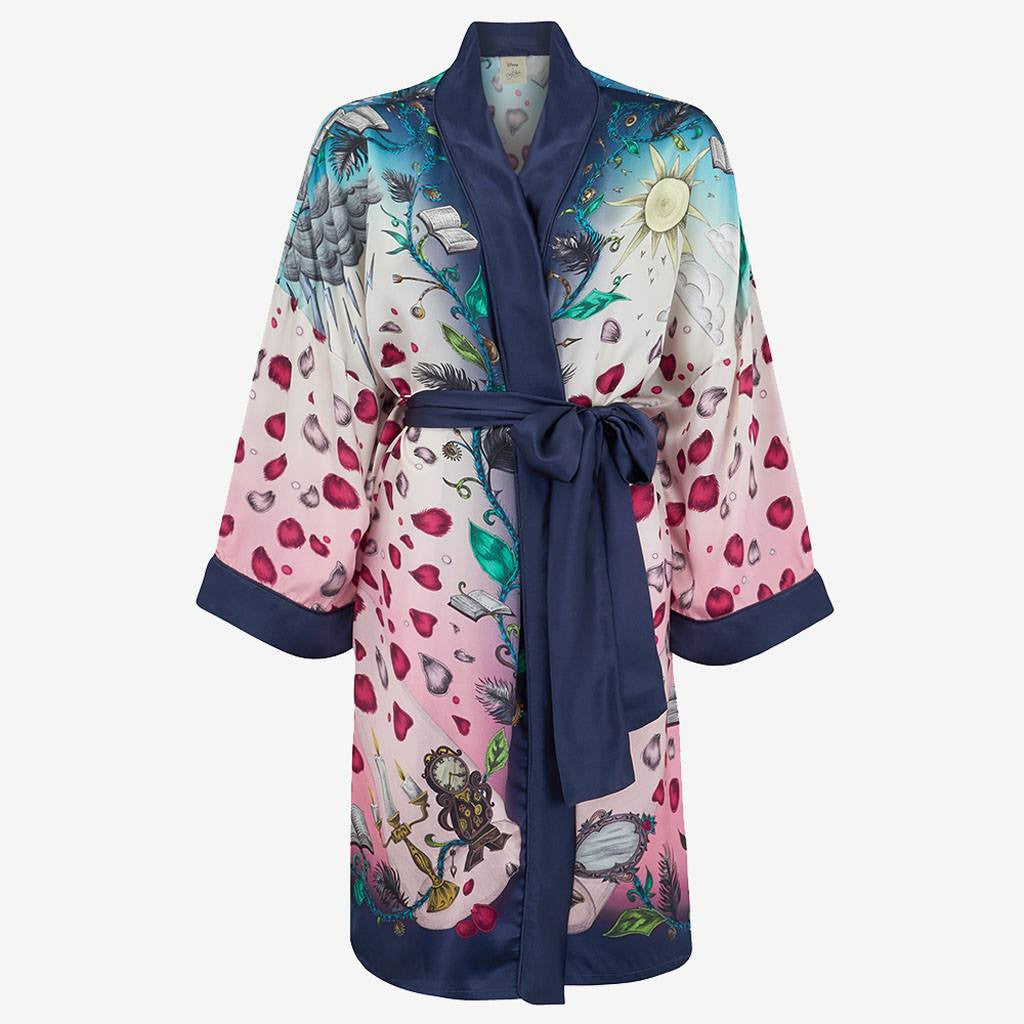 Luxury silk dressing gown in Disney Beauty and the Beast print by Emma J Shipley
