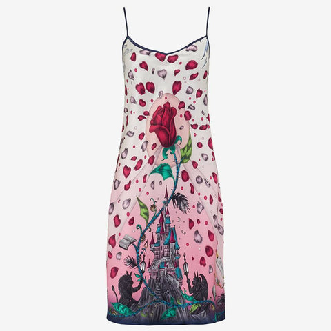 Luxury illustrated beauty and the beast slip dress for nightwear by disney and emma j shipley