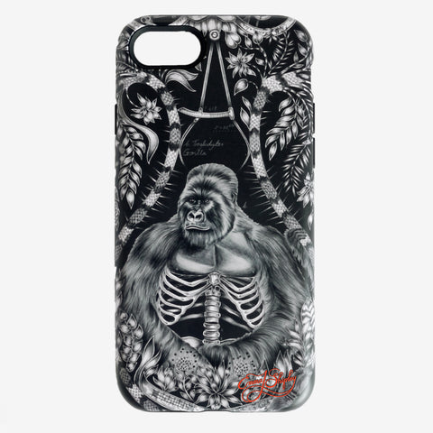The stunning Silverback Phone Case features a majestic gorilla upon a black and white matte finish phone case