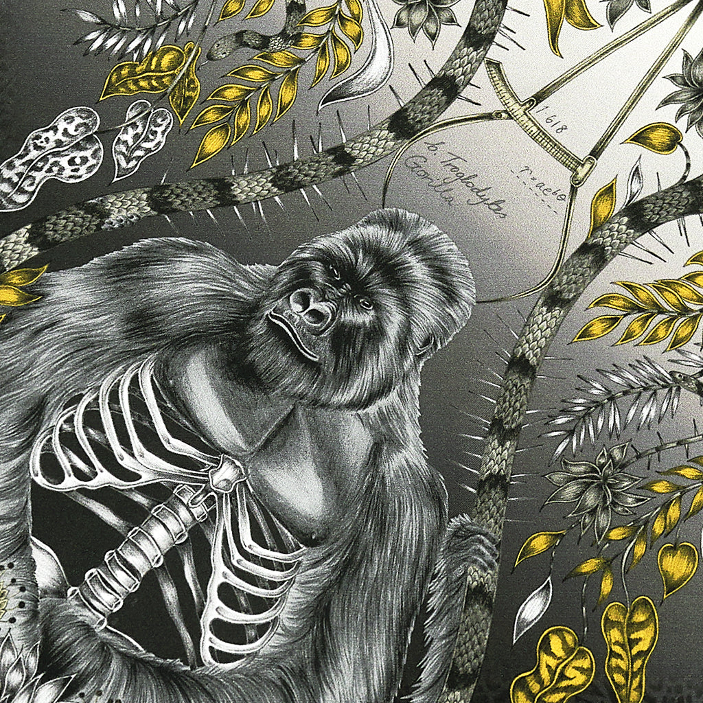 The hand-drawn design features a bold mountain gorilla, sat amongst tropical foliage with exposed ribcage detailing.