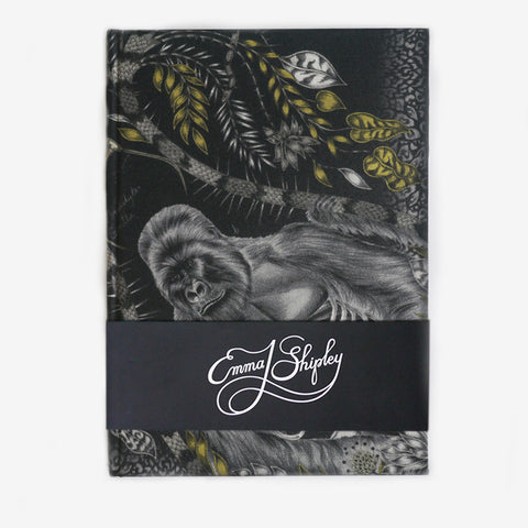 The animalistic gold Silverback silk and cotton covered notebook, by luxury designer and illustrator Emma J Shipley