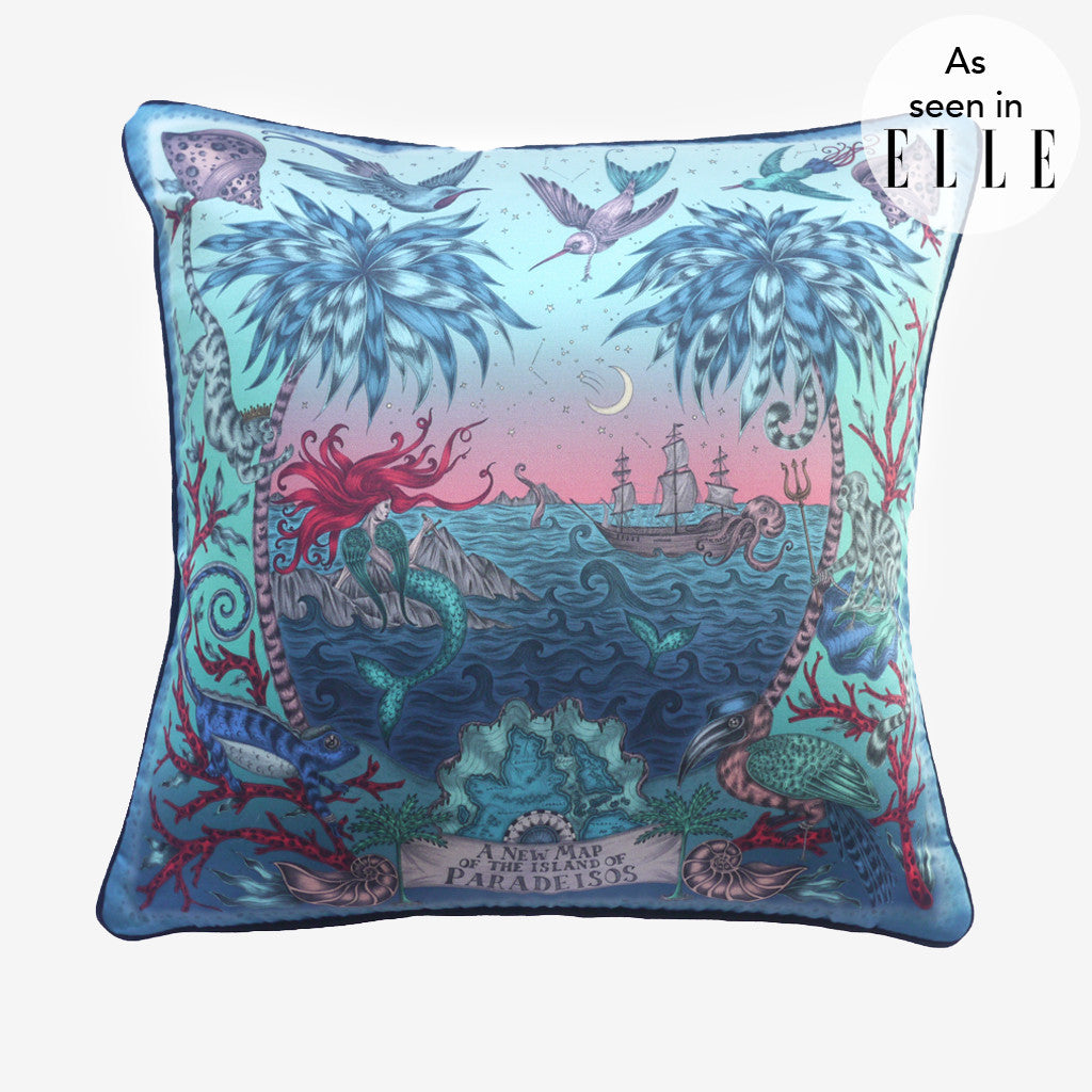 The Emma J Shipley Sirens Cushion was seen in Elle online.