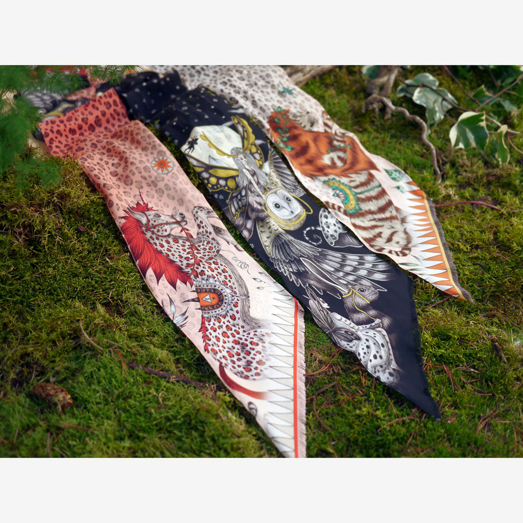 Stunning silk skinny scarves designed by Emma J Shipley featuring fantastical creatures and magical colourways