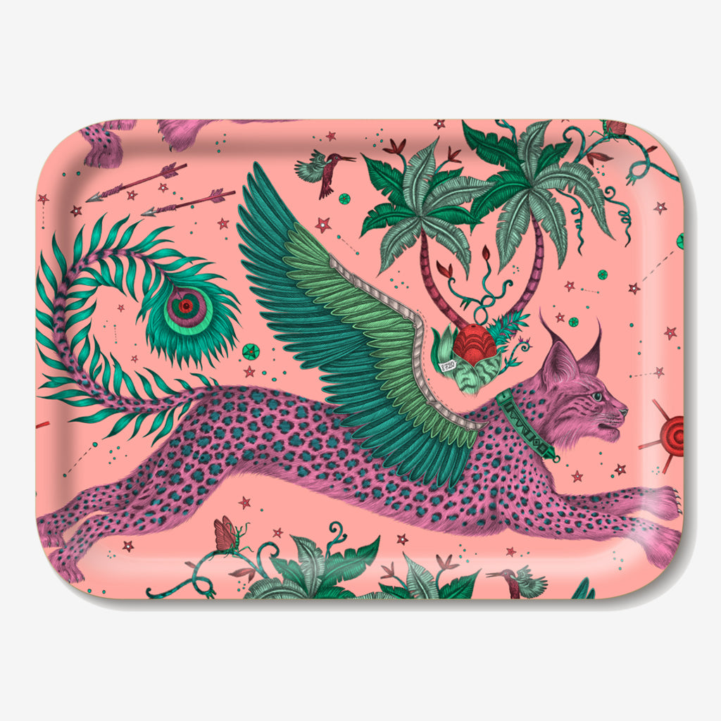The Lynx Tray designed by Emma J Shipley in collaboration with Jamida. The Pink lynx tray is the perfect fantastical table setting piece