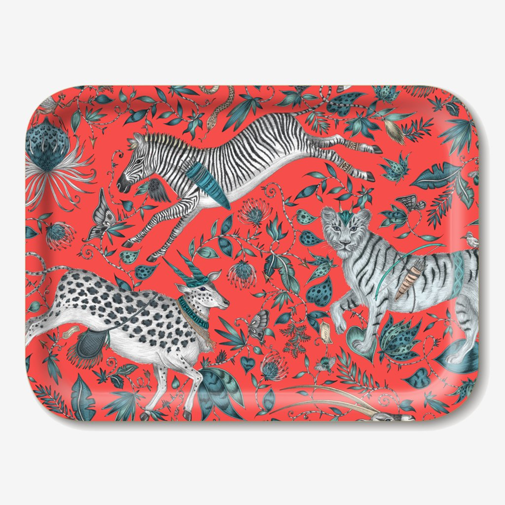 The Protea Tray designed by Emma J Shipley in collaboration with Jamida. The Red Protea tray is the perfect fantastical table setting piece