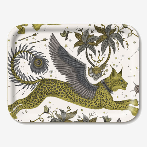 The Lynx Tray designed by Emma J Shipley in collaboration with Jamida. The Gold lynx tray is the perfect fantastical table setting piece