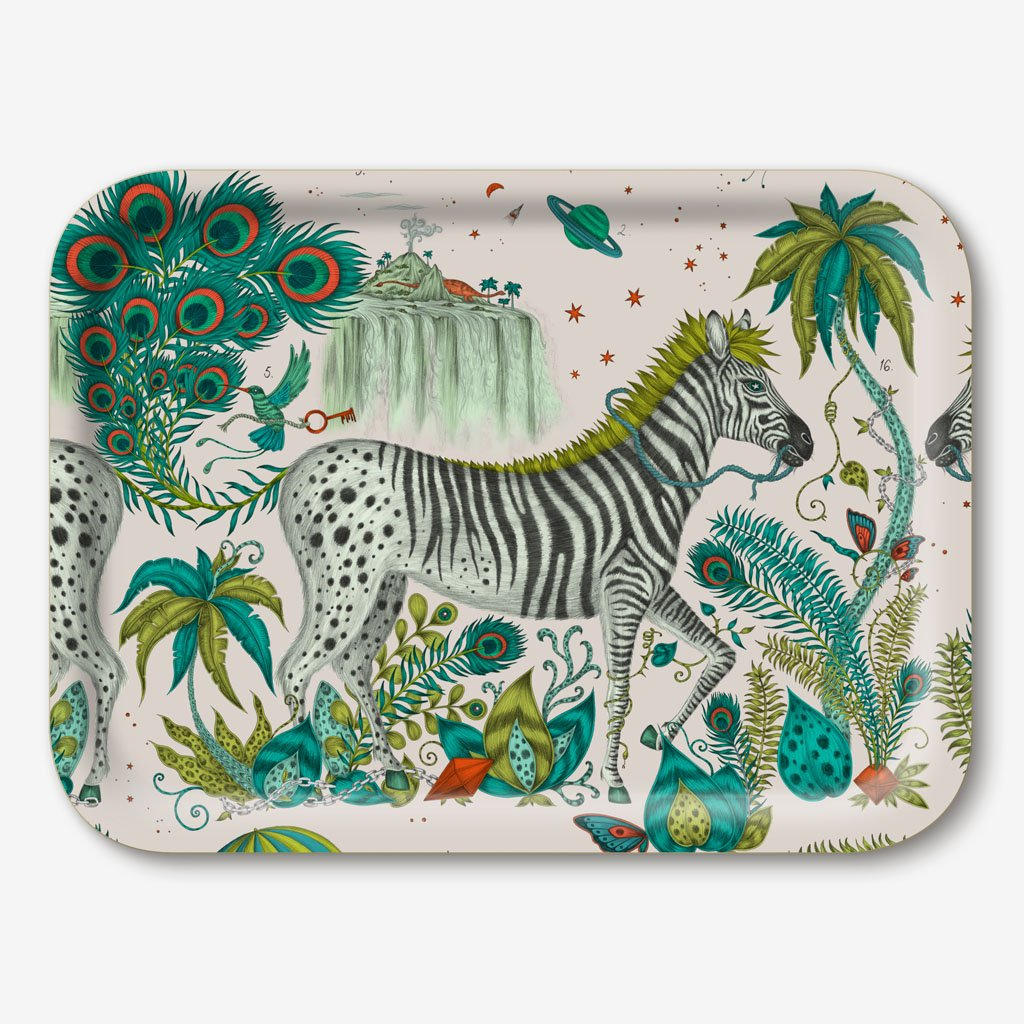 Lost World small zebra tray by Emma J Shipley in Lime green colours
