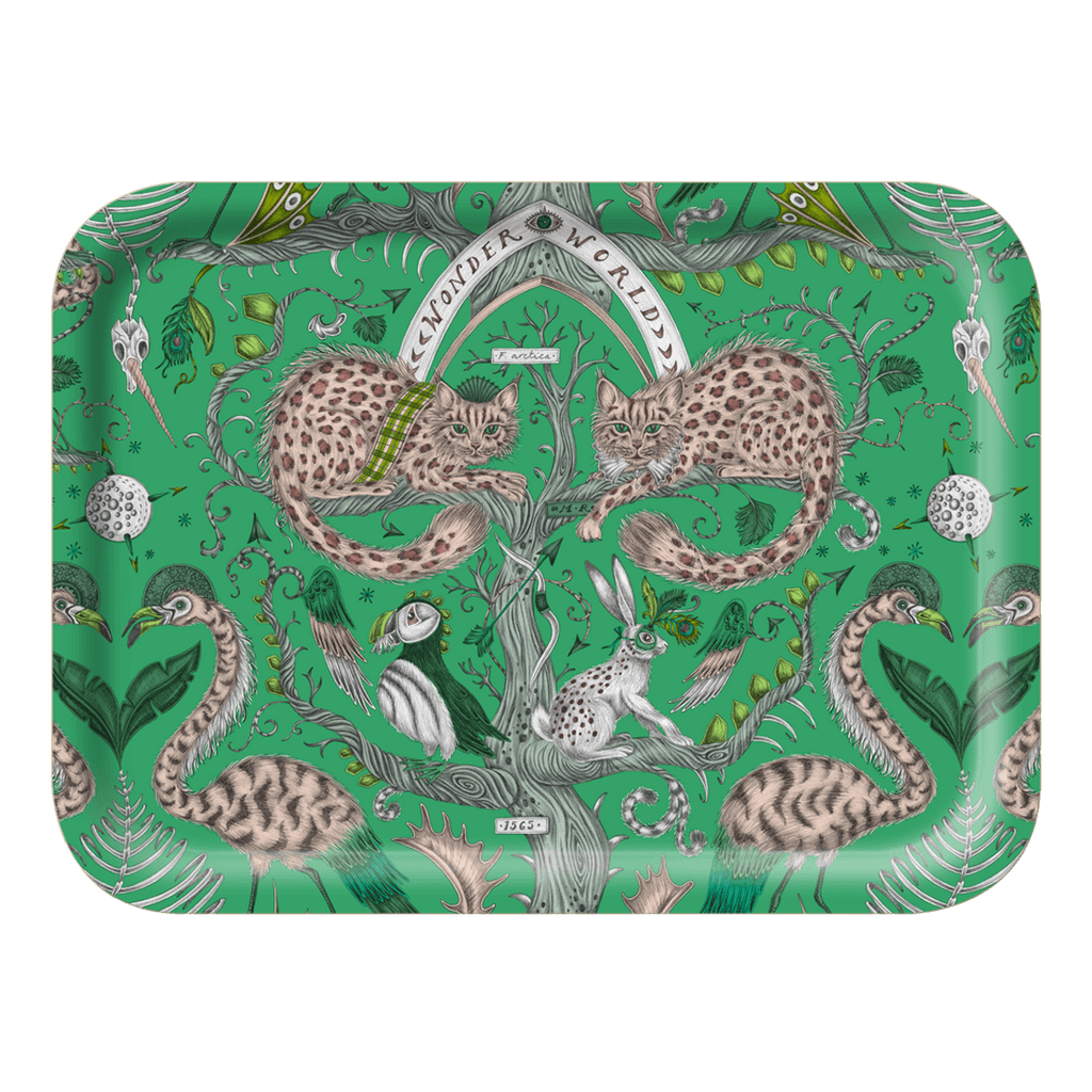 The Small Wonder World lime Tray is the perfect trinket dish or tea tray, designed by Emma J Shipley inspired by Scotland and Fantasy