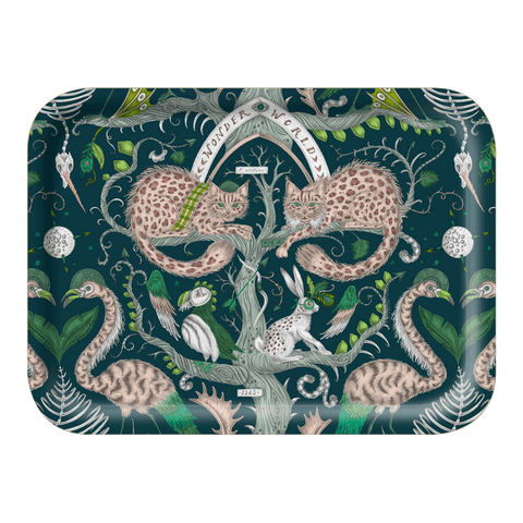 The Small Wonder World Teal Tray is the perfect trinket dish or tea tray, designed by Emma J Shipley inspired by Scotland and Fantasy