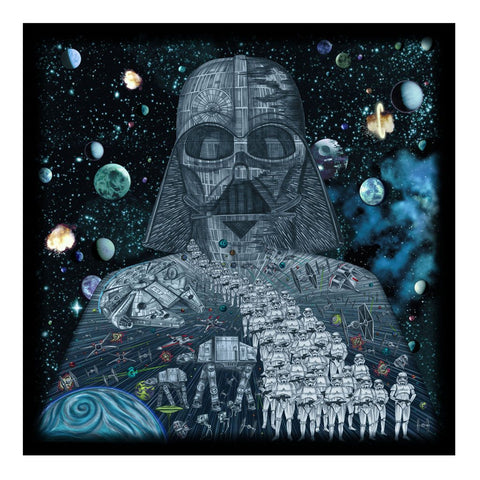 Darth Vader Star Wars full colour print of pencil drawing