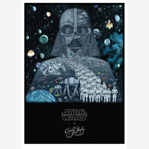 Star Wars poster size print hand drawn by Emma J Shipley