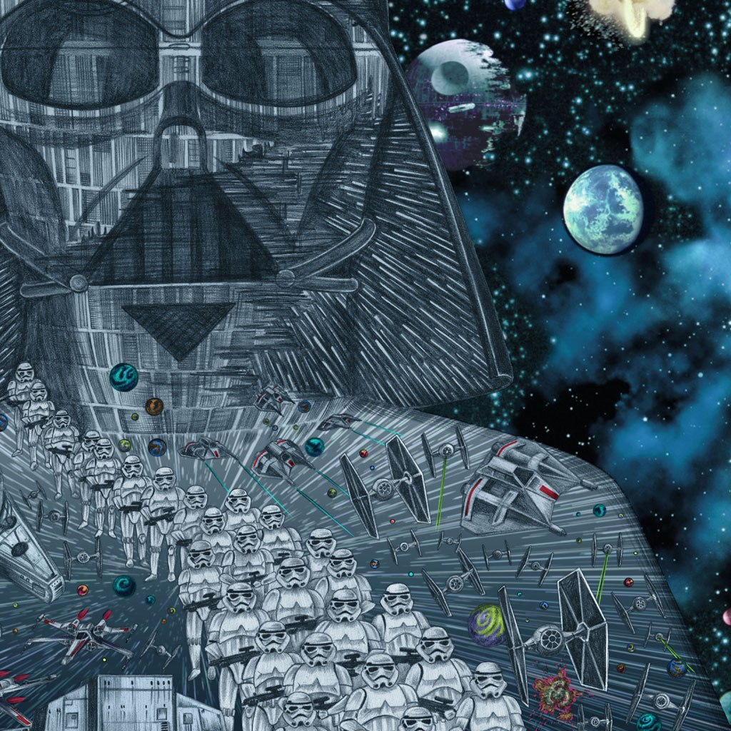 Detail of Darth Vader Star Wars colour print from pencil drawing