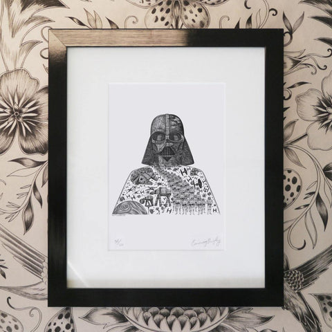 Emma J Shipley Star Wars drawing as a framed print of Darth Vader from Star Wars