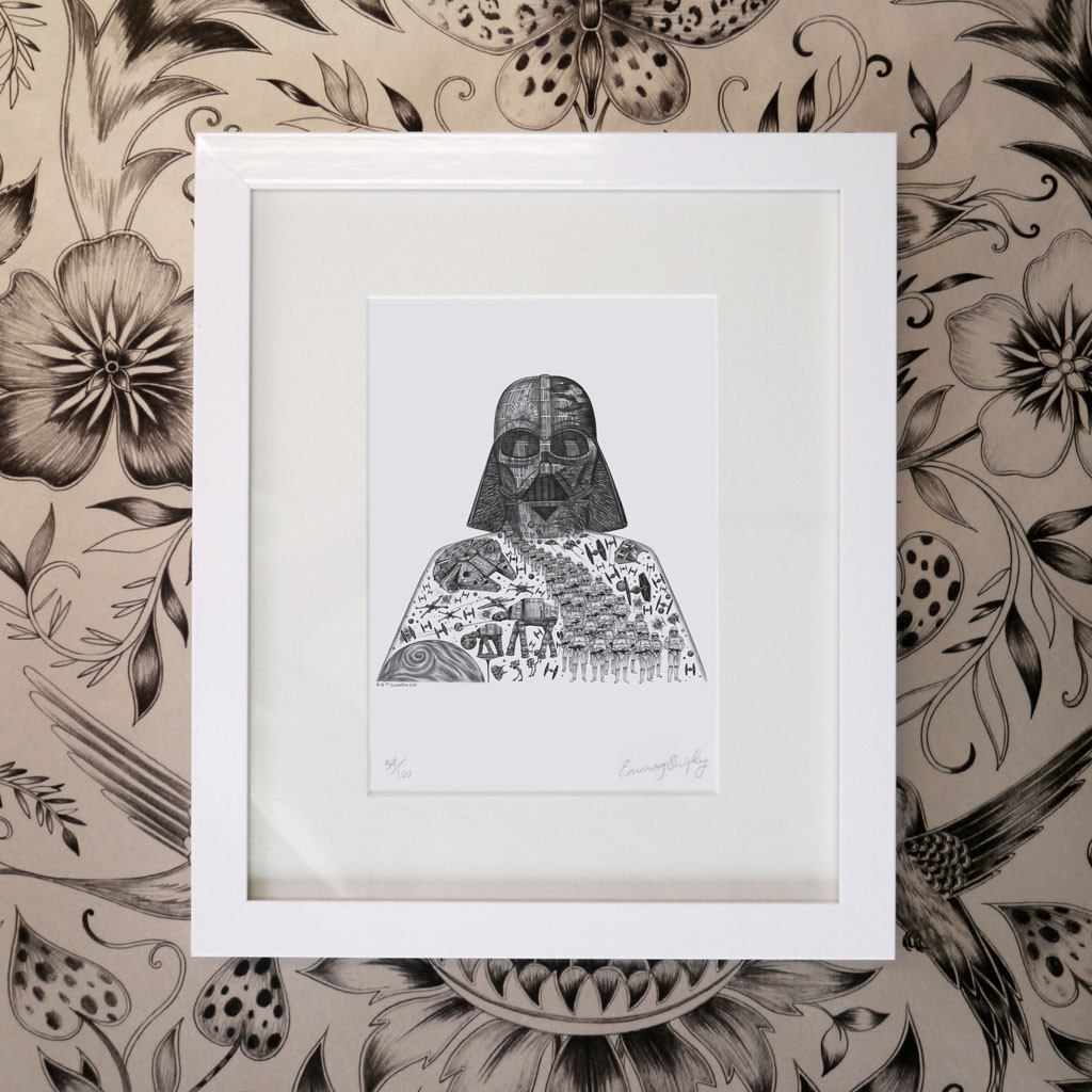 Framed print from the pencil drawing of Darth Vader from Star Wars