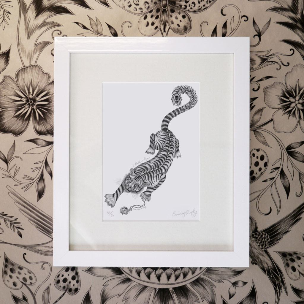 Panthera Tigris Mini Print - White Frame
