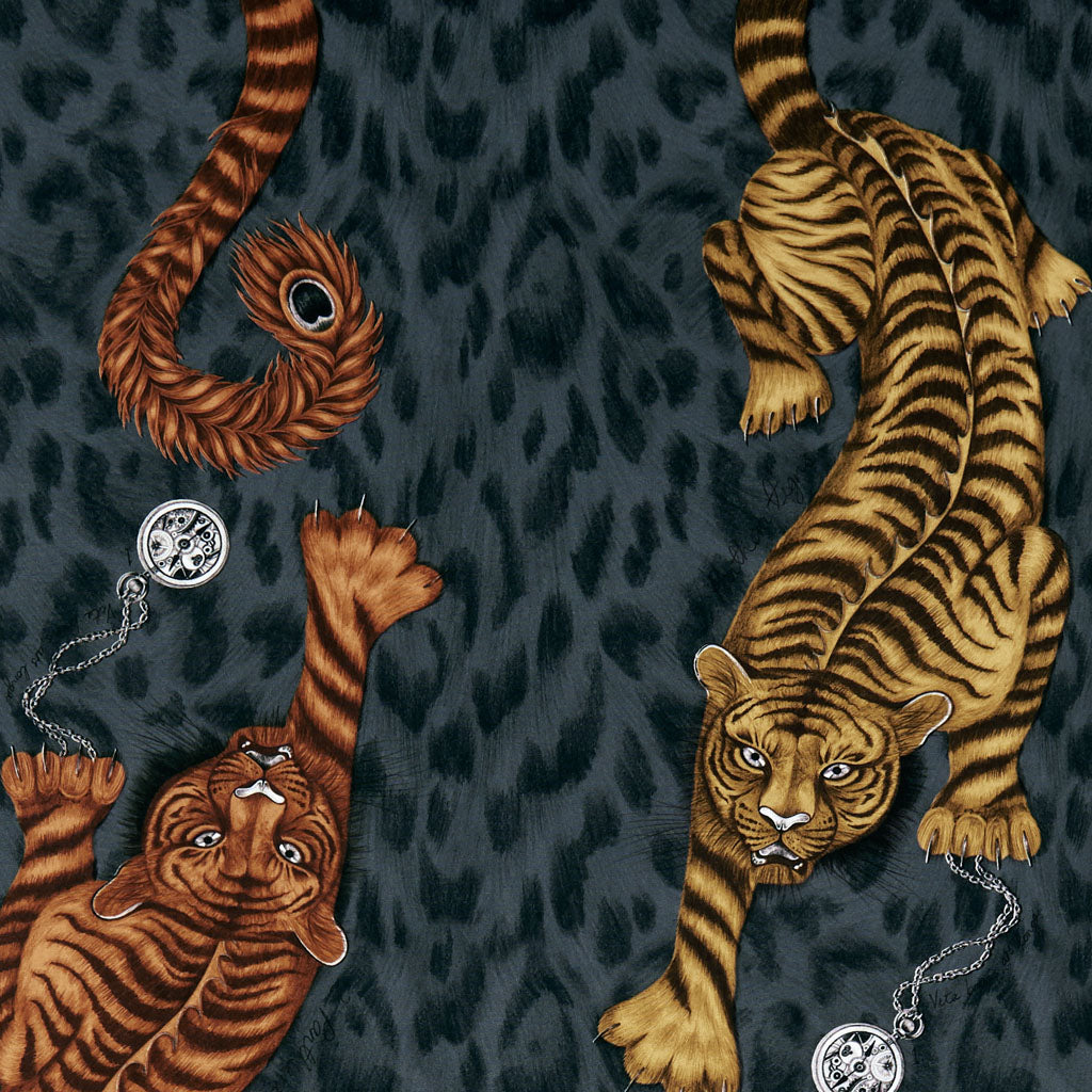 The Tigris design on the Animalia fabric by Emma J Shipley x Clarke & Clarke