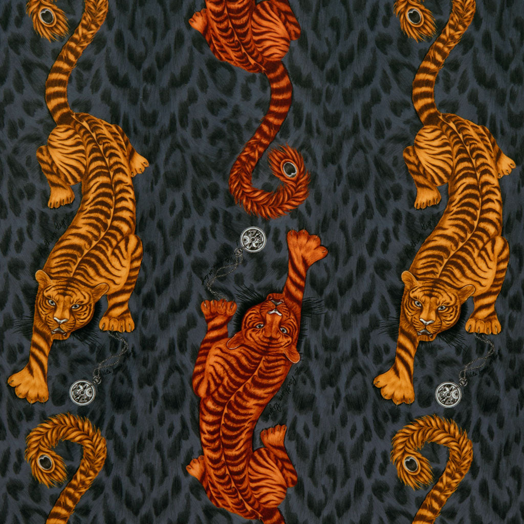 The luxurious orange Tigris velvet fabric designed by Emma J Shipley in collaboration with Clarke x Clarke