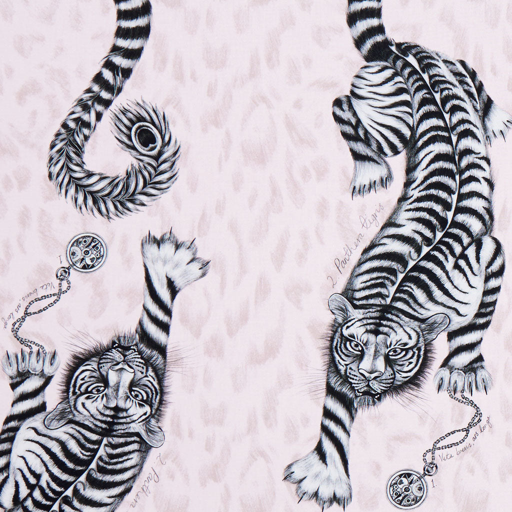 The beautiful pink Tigris design on the Animalia fabric by Emma J Shipley x Clarke & Clarke